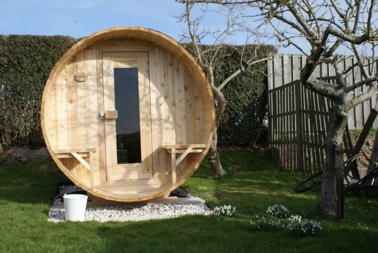 barrelsauna in tuin